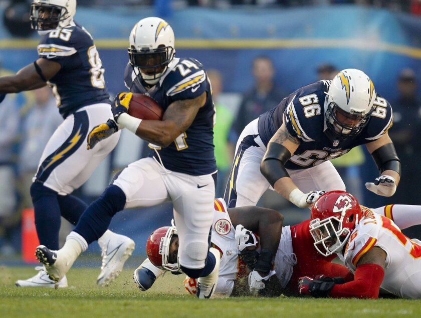 Ryan Mathews finds open running space in the first quarter. He had 67 yards on 13 carries and two catches for 5 yards on the evening. Sean M. Haffey • U-T