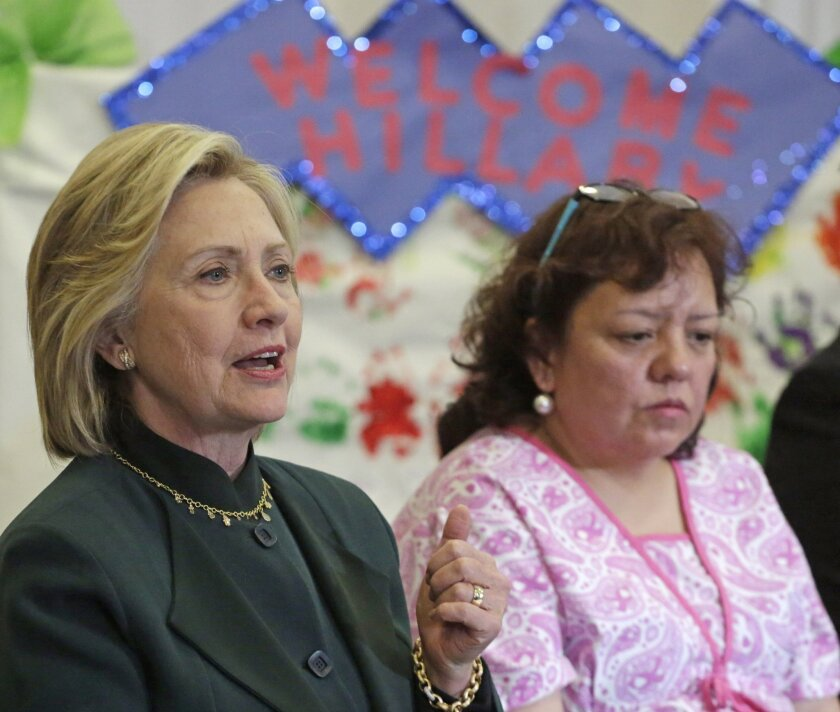 Democratic presidential candidate Hillary Rodham Clinton speaks to child care workers during a visit to Chicago on May 20. Clinton has emphasized liberal positions in her campaign so far.