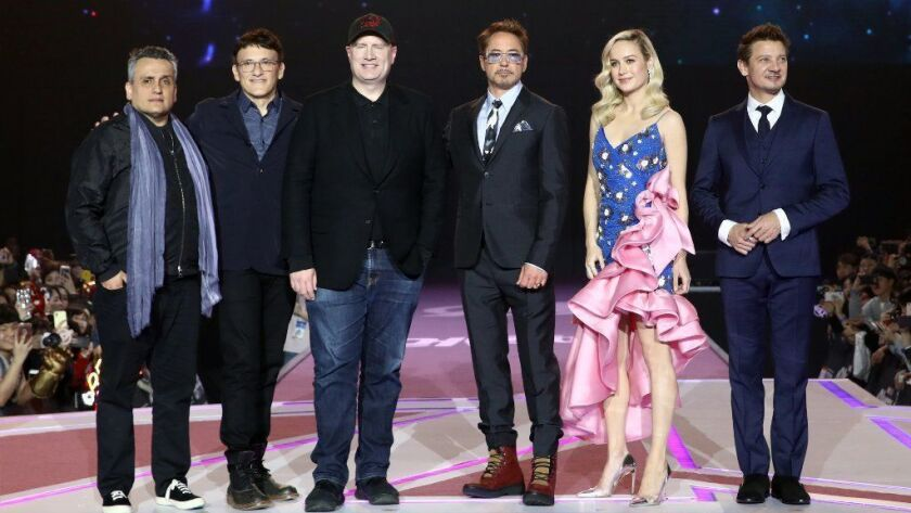 "From left, ""Avengers: Endgame"" directors Joe Russo and Anthony Russo, producer Kevin Feige and actors Robert Downey Jr., Brie Larson and Jeremy Renner attend an event in Seoul."