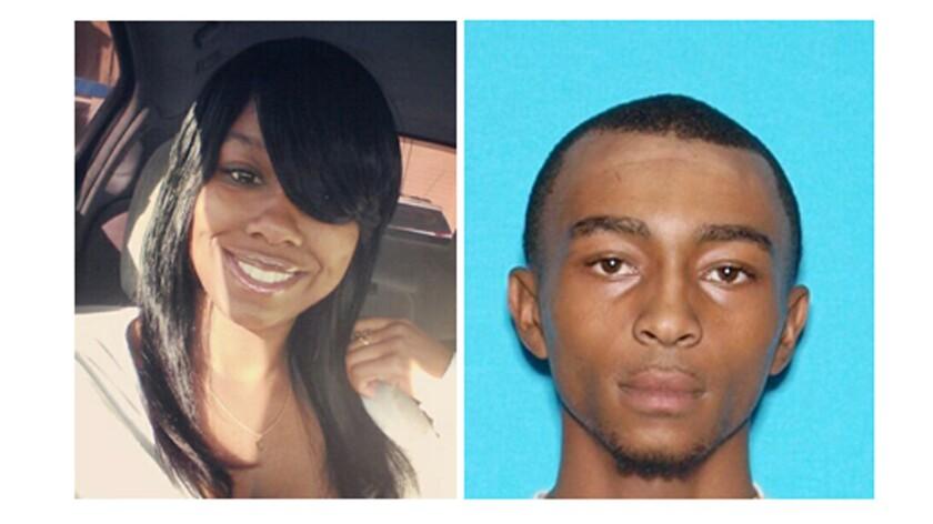 Nakasia James, left, is suspected of stabbing her boyfriend, Dorian Powell, inside an apartment in San Bernardino.
