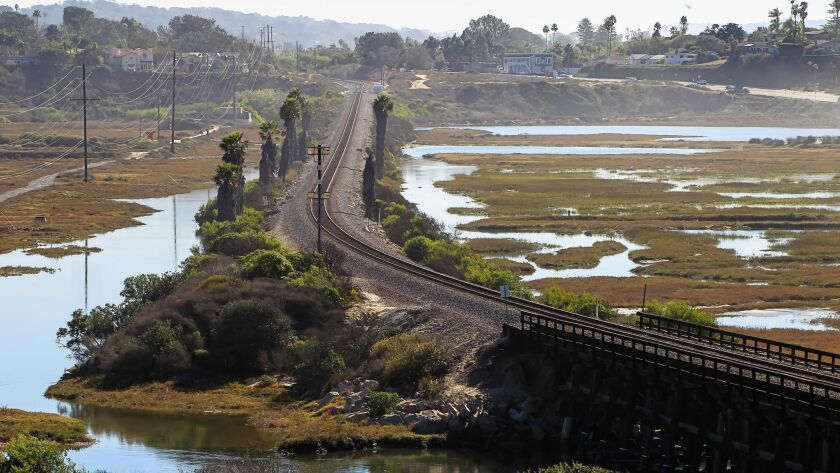 The San Elijo Lagoon rail bridge and tracks that cross through the San Elijo Lagoon are scheduled to be replaced and double tracked in this first phase of the North Coast Corridor project.