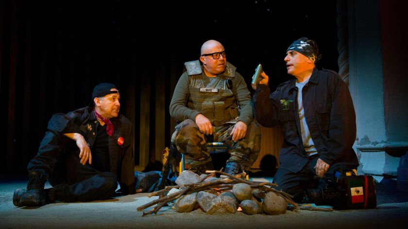 "The members of Culture Clash -- Ric Salinas, left, Herbert Sigüenza and Richard Montoya -- star in ""Bordertown Now"" at Pasadena Playhouse."
