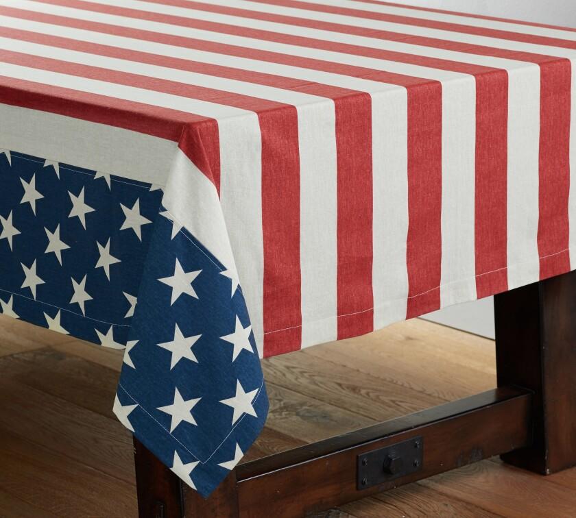 Americana tablecloth, $79 at Pottery Barn.