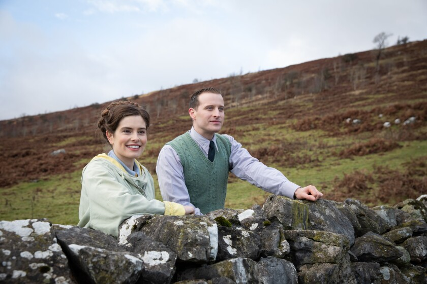 "Rachel Shenton and Nicholas Ralph in the PBS ""Masterpiece"" series ""All Creatures Great and Small."""