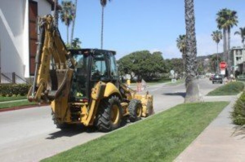 Construction vehicles are parked throughout the Shores during the repairs.