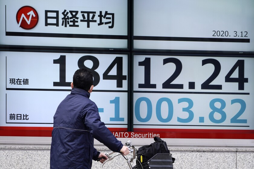 A man looks at an electronic stock board showing Japan's Nikkei 225 index at a securities firm in Tokyo Thursday, March 12, 2020. Asian shares plunged Thursday after the World Health Organization declared a coronavirus pandemic and indexes sank on Wall Street. Japan's benchmark Nikkei 225 dived 4.2% in morning trading. (AP Photo/Eugene Hoshiko)