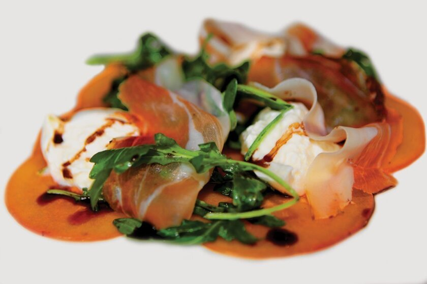Burrata with Speck, Shaved Fuyu Persimmon, Arugula and 25-Year Aged Balsamic. Photos by Daniel K. Lew