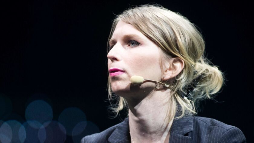 Chelsea Manning speaks during the C2 conference in Montreal on May 24, 2018.