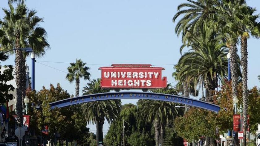October 6, 2008, San Diego, CA_ Community profile on University Heights. Here, the University Heights sign along Park Blvd. on Monday, Oct. 6, 2008. Mandatory Credit: Photo by K.C. Alfred/The San Diego Union-Tribune/Zuma Press. copyright 2008 San Diego Union-Tribune