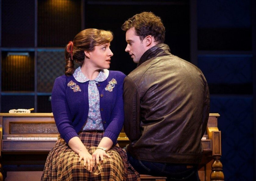 """Abby Mueller as Carole King and Liam Tobin Gerry Goffin in the touring production of """"Beautiful."""""""