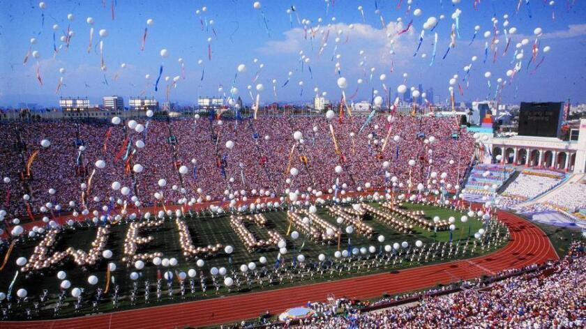 The 1984 Summer Games in Los Angeles, pictured, generated a profit. The city's projected budget for the 2024 Olympics is $4.1 billion.
