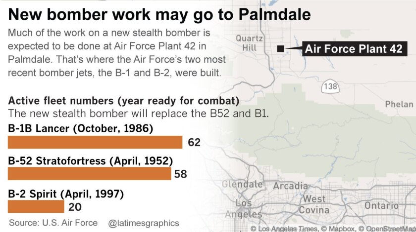 Air Force Plant 42 in Palmdale could host the new bomber manufacturing facility. It's where each of the Air Force's two most recent bomber jets, the B-1 and B-2, were built.