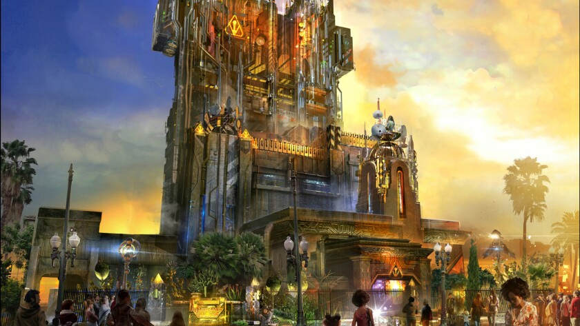 Concept art of the Guardians of the Galaxy -- Mission: Breakout, which will replace the Tower of Terror ride at Disney California Adventure.