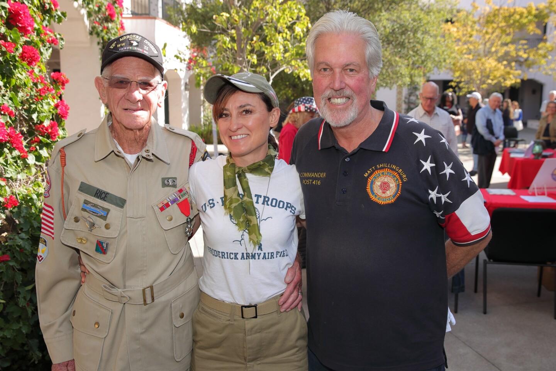 Tom Rice (WWII paratrooper), CJ Machado (producer of the documentary Libertas), and Matt Shillingburg (Commander, American Legion Post 416)