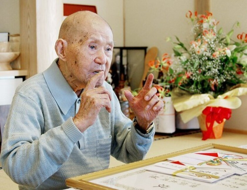 Tomoji Tanabe was the world's oldest man at 113 years old.