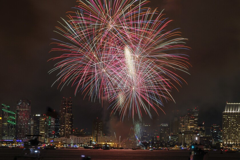 Fireworks explode above the San Diego downtown waterfront during the Big Bay Boom Fourth of July fireworks show in 2015.