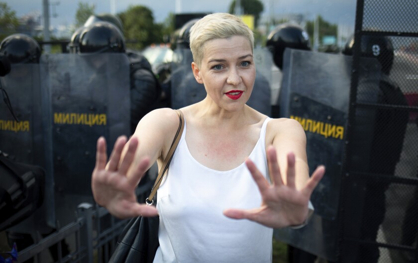 Maria Kolesnikova, one of Belarus' opposition leaders, gestures during a rally in Minsk, on Aug. 30.