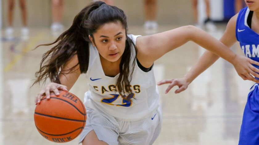 San Pasqual high school girls basketball player Maile Thompson. -- Photo by Don Boomer