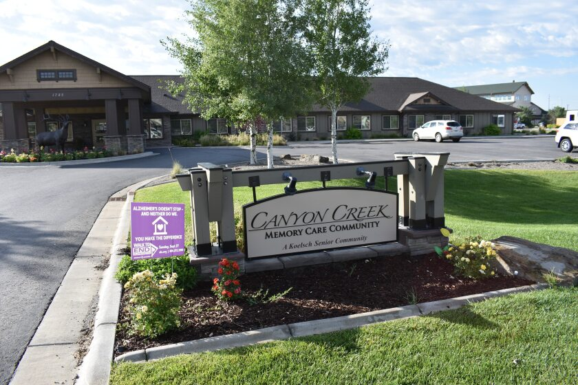 The Canyon Creek Memory Care Community is seen in Billings, Mont. on Friday, July 10, 2020. The facility that cares for people with dementia and other cognitive issues has seen at least seven deaths since a coronavirus outbreak sickened almost all its residents and many staff members. The Montana memory care facility that didn't carry out no-cost COVID-19 testing on its residents is reeling from an outbreak that has sickened more than 50 residents and 36 staff. (AP Photo/Matthew Brown)