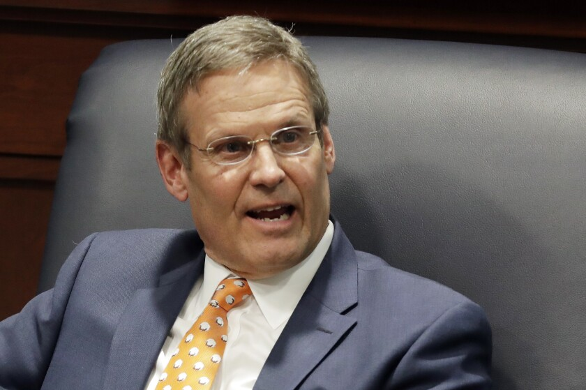 FILE - In this April 17, 2019, file photo, Tennessee Gov. Bill Lee takes part in a discussion on state-level criminal justice reform in Nashville, Tenn. Republican Gov. Bill Lee said Thursday, Sept. 26, 2019 that it is Attorney General Herbert Slatery's prerogative to request the execution dates and to challenge a court's decision commuting a death sentence to life in prison. (AP Photo/Mark Humphrey, File)