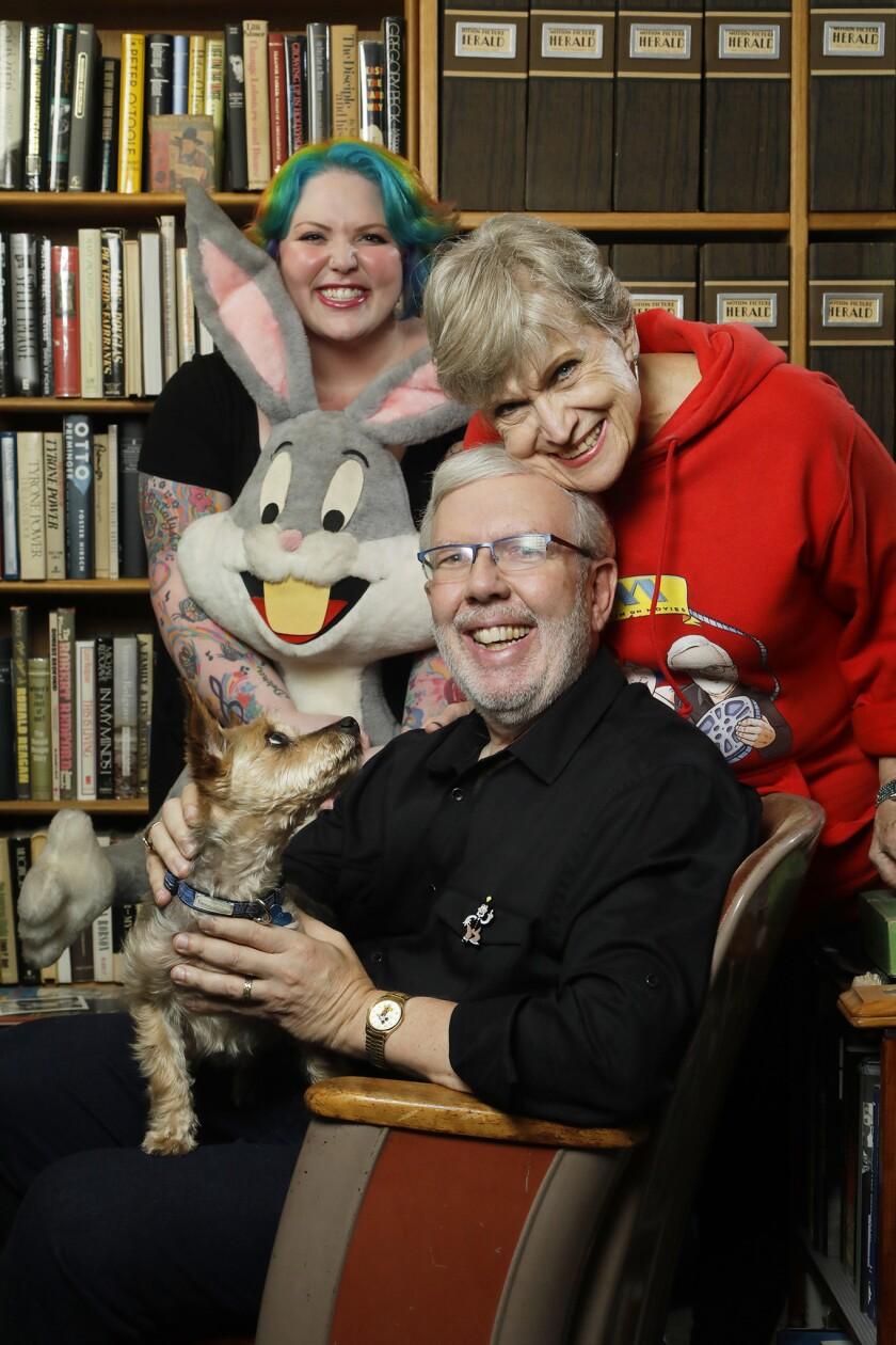 SHERMAN OAKS, CA -- APRIL 29, 2019: Leonard Maltin with his daughter Jessie, left, and wife Alice ha