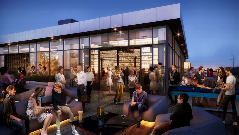 A rendering of the penthouse deck of the historic Coca-Cola syrup plant at 4th and Merrick streets. Online coupon firm Honey plans to move there from the financial district in mid-2019.