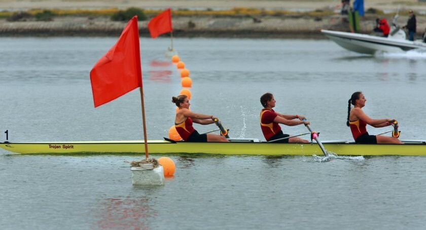 The USC women's crew crossed the finish line ahead of the pack in Sunday's Jessop-Whittier Cup in memory of Patty Wyatt, the founder of the Crew Classic.