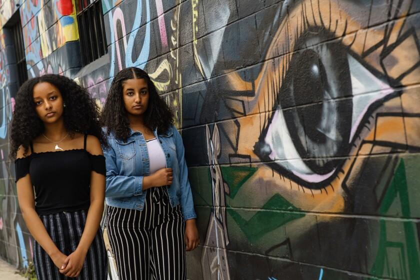 CULVER CITY, CALIF. -- THURSDAY, APRIL 4, 2019: Sallina Yehdego, 19, right, and Harina Bereket, 16,