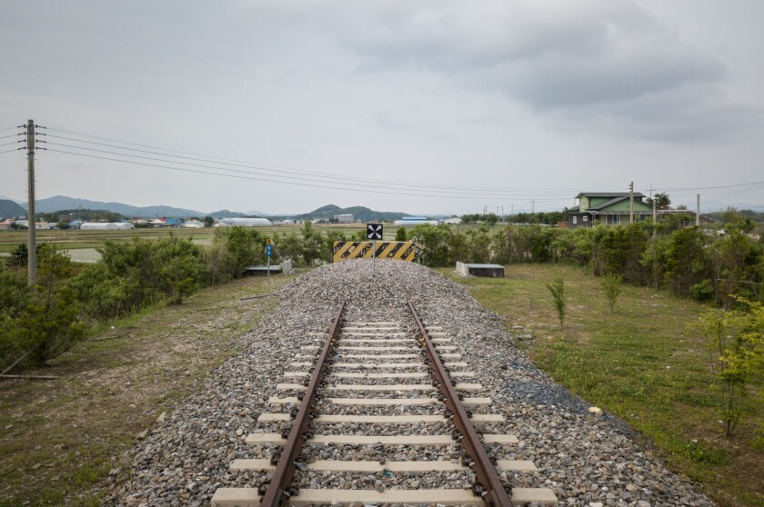 A photo taken in May shows the northernmost limit of the Gyeongwon railway line at Baengmagoji station in Cheorwon near the Demilitarized Zone separating North and South Korea. Leaders of the two Koreas agreed in April to get railways up and running across the border.