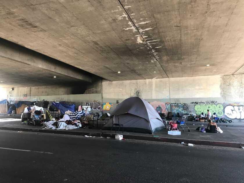 A homeless encampment on Gower Street
