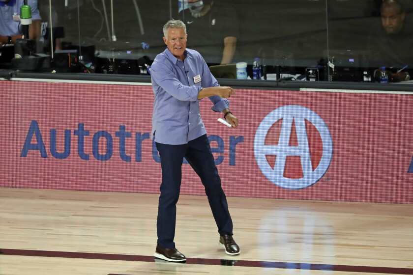Philadelphia coach Brett Brown reacts to a play during Game 3 against Boston on Aug. 21, 2020.