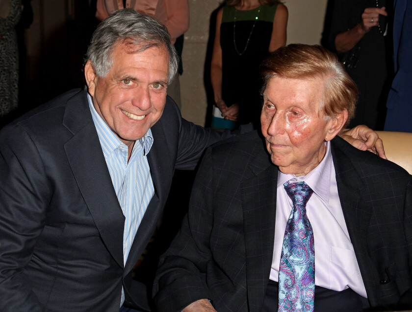 CBS Chief Executive Leslie Moonves and Sumner Redstone, CBS' controlling shareholder in 2012.