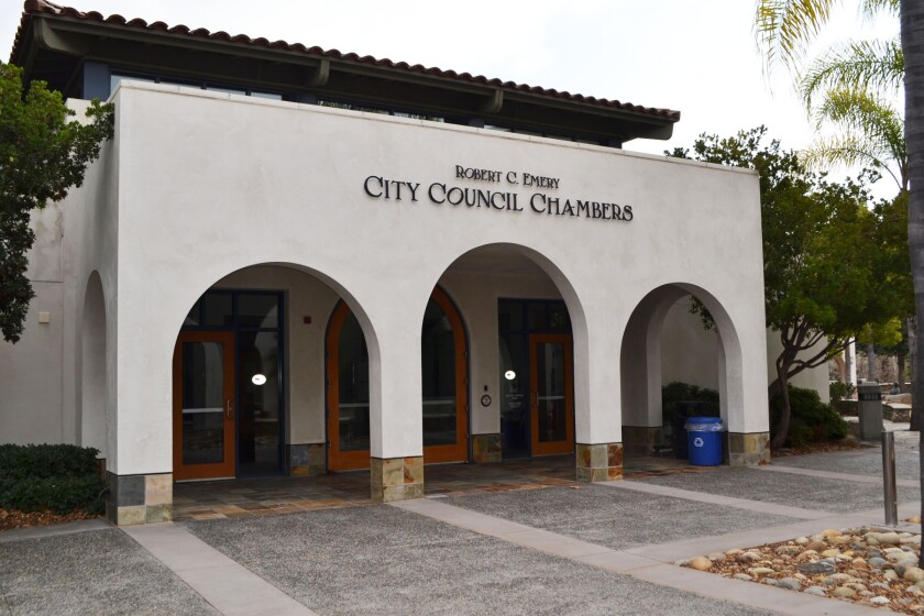 The Poway City Council chambers at City Hall.