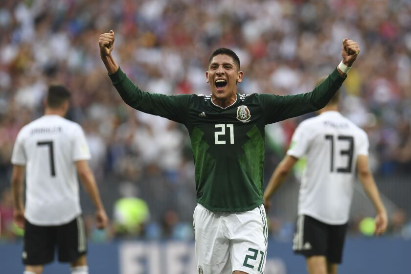 TOPSHOT - Mexico's defender Edson Alvarez celebrates after winning at the end of the Russia 2018 World Cup Group F football match between Germany and Mexico at the Luzhniki Stadium in Moscow on June 17, 2018. / AFP PHOTO / Patrik STOLLARZ / RESTRICTED TO EDITORIAL USE - NO MOBILE PUSH ALERTS/DOWNLOADSPATRIK STOLLARZ/AFP/Getty Images ** OUTS - ELSENT, FPG, CM - OUTS * NM, PH, VA if sourced by CT, LA or MoD **