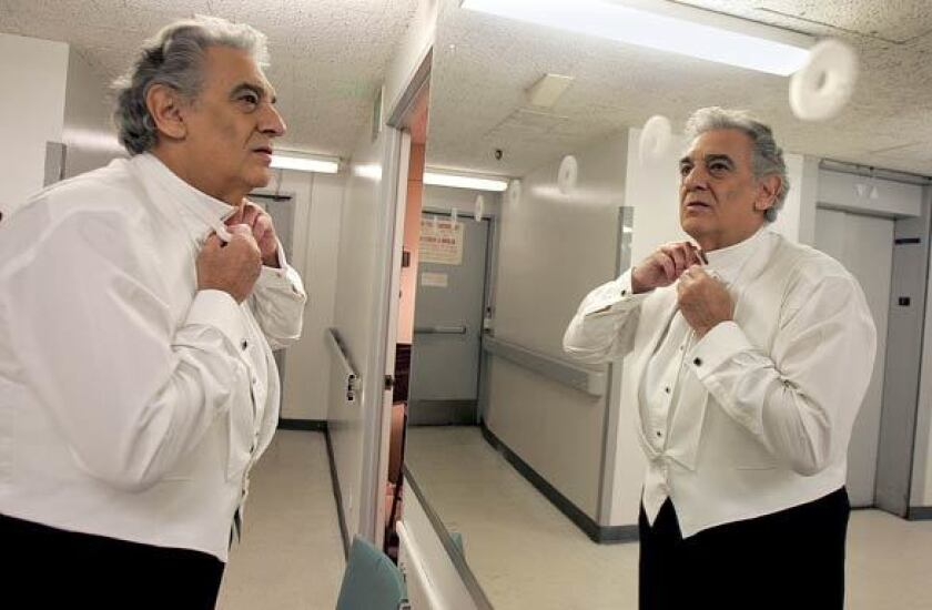Placido Domingo outside his dressing room at the Dorothy Chandler Pavilion in 2006.