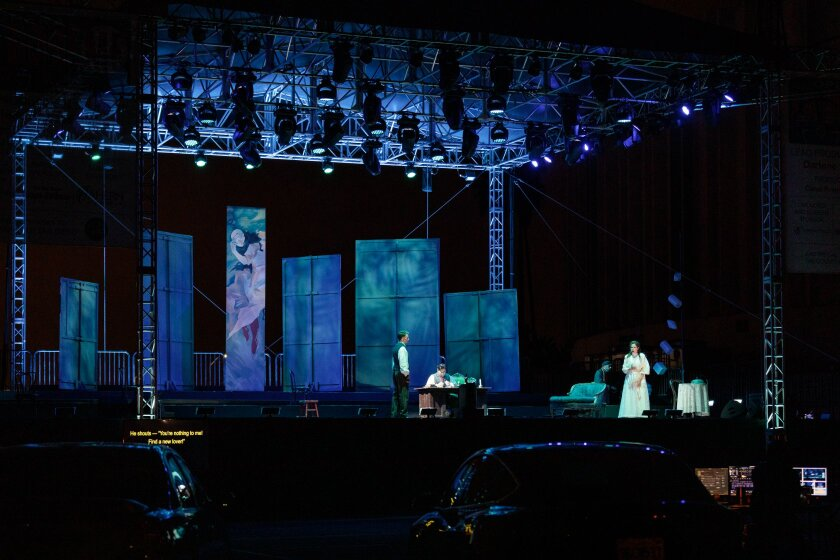 "San Diego Opera's drive-in production of Puccini's opera ""La bohème"""