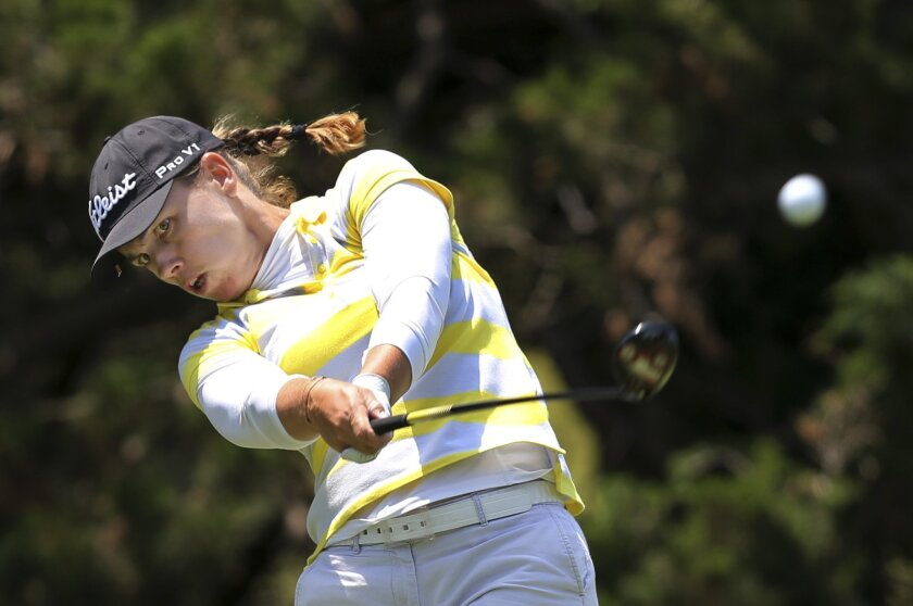Karine Icher, of France, hits a tee shot on the eighth hole of the second round of the ShopRite LPGA Classic golf tournament, Saturday, June 4, 2016, in Galloway Township, N.J.(AP Photo/Mel Evans)