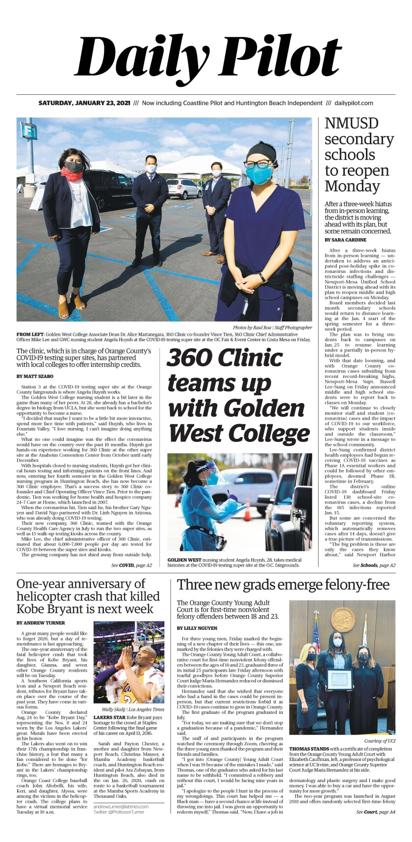 Front page of Daily Pilot e-newspaper for Saturday, Jan. 23, 2021.