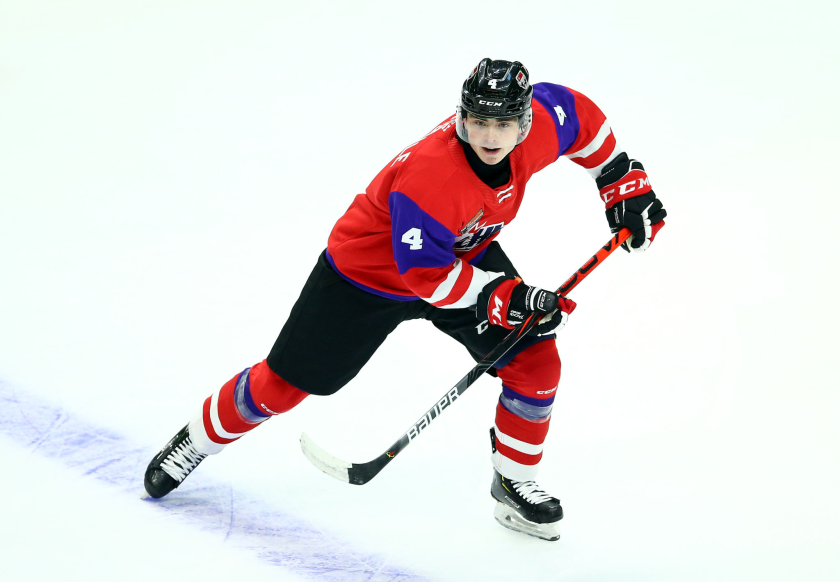 Ducks first-round draft pick Jamie Drysdale skates during the 2020 CHL/NHL Top Prospects Game in January.