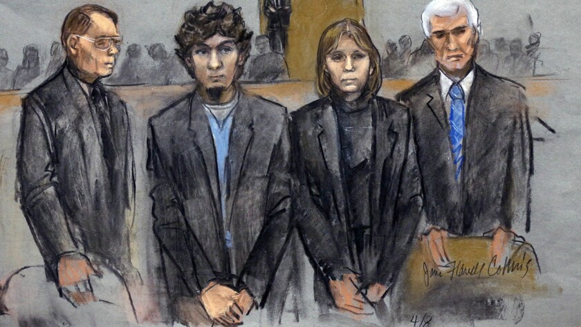 A courtroom sketch from March shows Dzhokhar Tsarnaev, second from left, with defense attorneys, from left, William Fick, Judy Clarke and David Bruck.