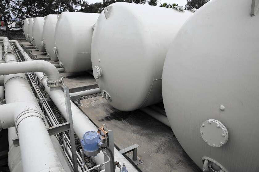 Filtration tanks at Santa Barbara's Charles E. Meyer Desalination Facility. The city plans to spend up to $40 million to modernize and reactivate the plant, which was closed in 1992.