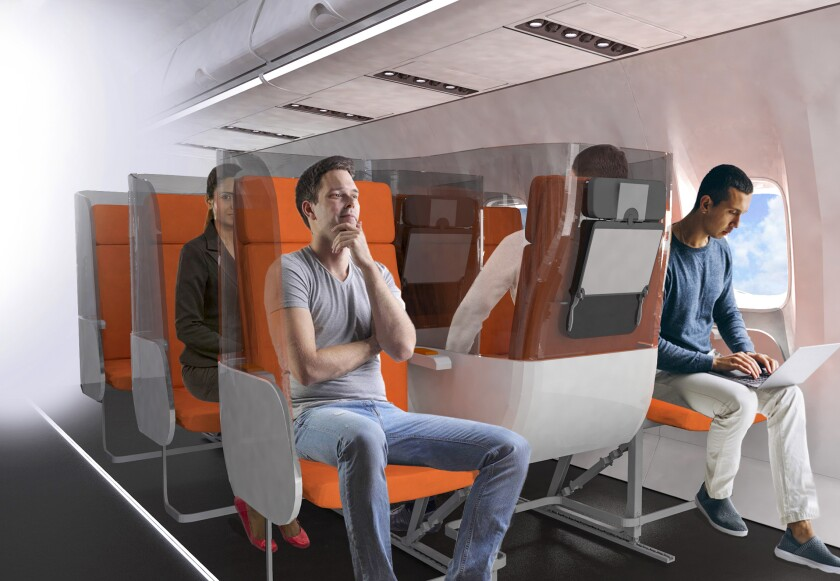 A rendering of the Janus seat. The middle seat is reversed to isolate passengers.