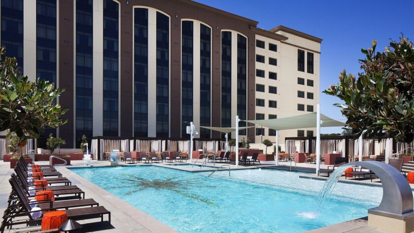 The Chumash Casino's 15,000-square-foot pool area, atop the original five-story hotel, has eight private cabanas, a splash deck, multiple Jacuzzis, fire pits, a full bar and patio dining.