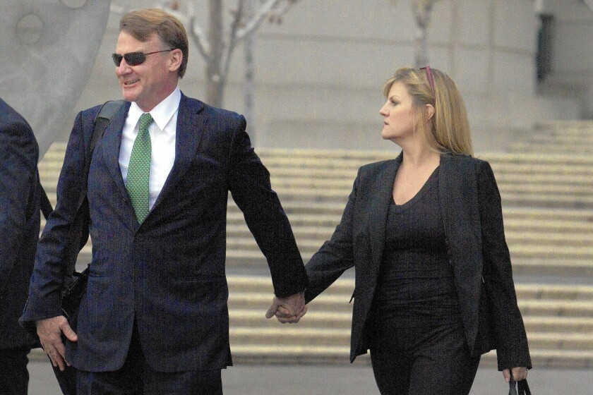 Brian Mulligan, left, after opening statements in one of his lawsuits over his arrest by the LAPD in 2012.