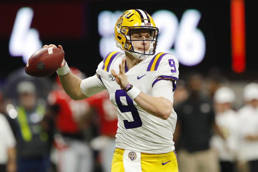 LSU quarterback Joe Burrow throws a pass against Georgia in the SEC title game on Dec. 7.