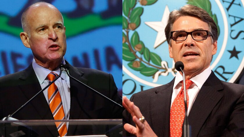 """California Gov. Jerry Brown, left, recently launched the California Competes incentive program. Texas Gov. Rick Perry, right, has touted the Texas Enterprise Fund as a """"job-creation machine."""""""