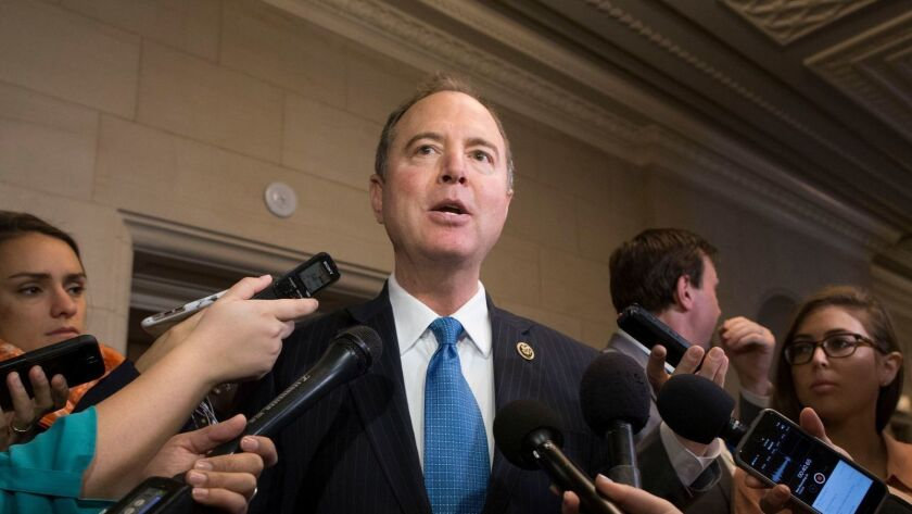 Rep. Adam Schiff delivers remarks to the media on Nov. 29, 2018