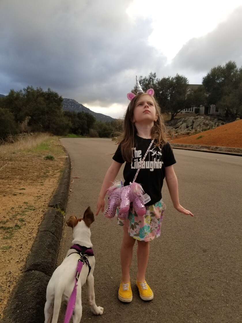 My daughter Ella, 6, channeling all the magic in the world — on Rio Verde Drive.