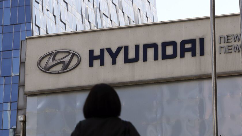 A Hyundai dealership showroom in Seoul.