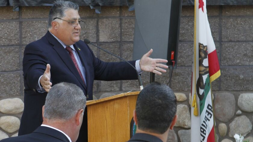 Anthony Portantino speaks during the unveiling ceremony for the soundwall art artist Miriam Balcazar